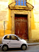 Old Door Digital Art Prints - Little Car of Florence Print by Jen White