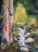 Mountains Painting Originals - Little Falls by Kate Wyman