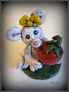 Polymer Clay Posters - Little Mouse Big Strawberry Poster by Trina Prenzi
