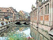 Alsace Drawings Framed Prints - Little Venice Colmar France Framed Print by Joseph Hendrix