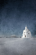 Blue Posters Photos - Little White Church by Larysa Luciw