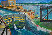 Railroads Paintings - Lock and Dam 19 by Jame Hayes