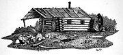 Log Cabin Drawings Prints - Log Cabin Print by Olin  McKay