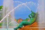 Benjamin Franklin Digital Art - Logan Circle Fountain 1 by Bill Cannon