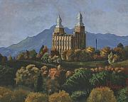 Church Paintings - Logan Temple by Jeff Brimley
