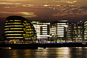Europe Photo Framed Prints - London city hall at night Framed Print by Elena Elisseeva