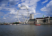 County Hall Prints - London Eye Print by Carlos Dominguez