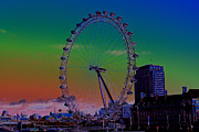 Fireworks Prints - London Eye Digital Art Print by David Pyatt