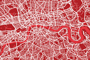 England Framed Prints - London Map Art Red Framed Print by Michael Tompsett