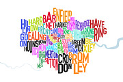 Font Map Digital Art Prints - London UK Text Map Print by Michael Tompsett