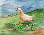 Geese Paintings - Lone Goose by Brenda Thour