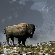 Western Themed Digital Art Posters - Lonely Bison Poster by Daniel Eskridge