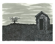 Shed Drawings - Lonley Outhouse by Jonathan Baldock