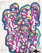 Faces Drawings - Look Around by Robert Wolverton Jr