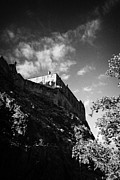 Edinburgh Art - Looking Up At Clifftop Edinburgh Castle Scotland Uk United Kingdom by Joe Fox
