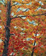 Autumn Trees Painting Posters - Looking Up Poster by Pete Maier