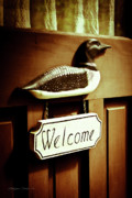 Cabin Window Framed Prints - Loon Welcome Sign on Cottage Door Framed Print by Gordon Wood