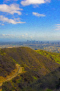 Los Angeles Digital Art Metal Prints - Los Angeles CA Skyline Runyon Canyon Hiking Trail Metal Print by David  Zanzinger