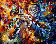 Louis Framed Prints - Louis Armstrong Framed Print by Leonid Afremov