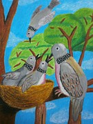 Black Family Pastels Framed Prints - Love and Dove Framed Print by Adam Wai Hou