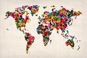 Valentine Digital Art Prints - Love Hearts Map of the World Map Print by Michael Tompsett