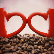 Coffee Beans Posters - Love Poster by Kristin Kreet