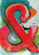 Blue Red And White Posters - Love Poster by Linda Woods
