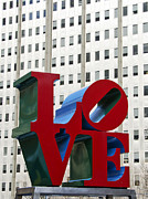 Red Buildings Posters - Love Park - Center City - Philadelphia Poster by Brendan Reals