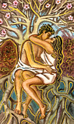 Roots Pastels Posters - Lovers kissing each other under a blooming tree Poster by Vasile Movileanu