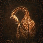 Giraffes Framed Prints - Loves Golden Touch Framed Print by Crista Forest