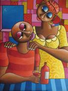 Nigerian Artist Acrylic Prints - Loving up Acrylic Print by Tolu  Aliki