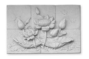 Carved Reliefs Posters - Low relief cement Thai style  Poster by Phalakon Jaisangat