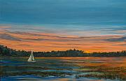 Sailboat Paintings - Lowdown by Pete Maier