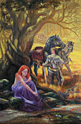 Knights Paintings - Loyal Guardian by pat Lewis