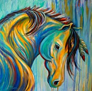 Contemporary Horse Framed Prints - Loyal One Framed Print by Theresa Paden