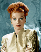 Gold Earrings Acrylic Prints - Lucille Ball, Ca. Mid-1940s Acrylic Print by Everett
