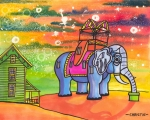 Elephant Mixed Media Posters - Lucy in the Sky with Diamonds Poster by Christie Mealo