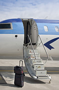Airline Industry Photos - Luggage Near Airplane Steps by Jaak Nilson