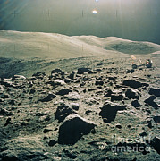Featured Metal Prints - Lunar Rover At Rim Of Camelot Crater Metal Print by NASA / Science Source