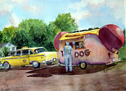 Hot Dog Stand Paintings - Lunch Time by Katherine  Berlin