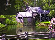 Old Mills Paintings - Mabry Mill by Larry Hoskins