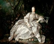 Boucher Framed Prints - Madame de Pompadour Framed Print by Francois Boucher