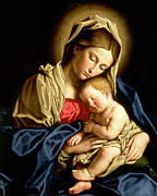 Christianity Painting Prints - Madonna and Child Print by Il Sassoferrato