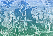 Sea Monster Mythology Prints - Magellan Setting Out To Sea, 1519 Print by Photo Researchers