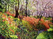 Tree Blossoms Paintings - Magic Flower Forest by David Lloyd Glover