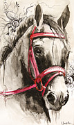 White  Drawings Framed Prints - Magical Horse Framed Print by Slaveika Aladjova