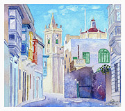 Streetscape Paintings - Main Street Balzan Malta by Godwin Cassar