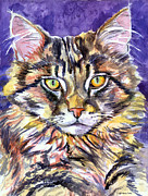 Cat Portraits Prints - Maine Coon Cat Print by Lyn Cook