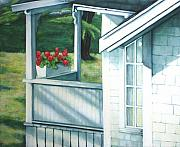 Red Geraniums Prints - Maine Porches Number One Print by Leo Malboeuf