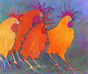 Rooster Kitchen Art Prints - Making a Break For It Print by Jane Wilcoxson